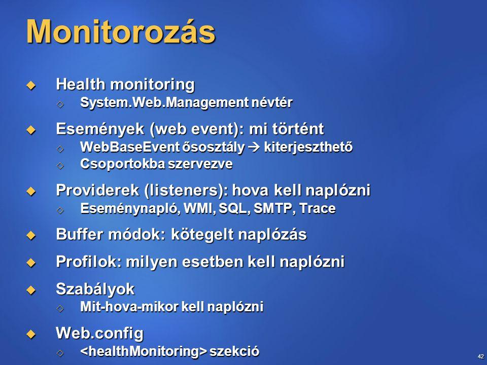 42 Monitorozás  Health monitoring  System.Web.Management névtér  Események (web event): mi történt  WebBaseEvent ősosztály  kiterjeszthető  Csop
