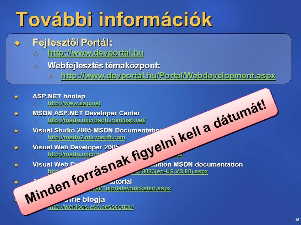 45 További információk  Fejlesztői Portál:  http://www.devportal.hu http://www.devportal.hu  Webfejlesztés témaközpont:  http://www.devportal.hu/P