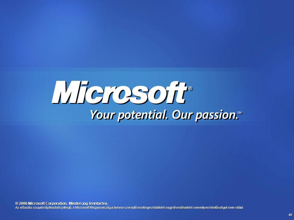 48 © 2006 Microsoft Corporation. Minden jog fenntartva. Az előadás csupán tájékoztató jellegű, a Microsoft Magyarország a benne szereplő esetleges hib