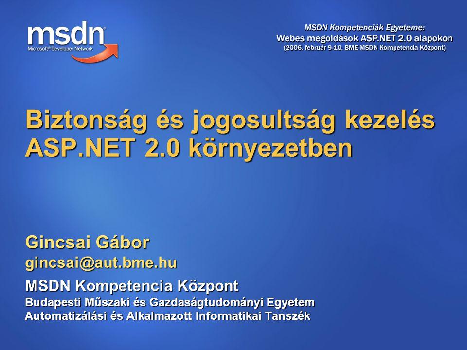 Gincsai Gábor gincsai@aut.bme.hu MSDN Kompetencia Központ Budapesti Műszaki és Gazdaságtudományi Egyetem Automatizálási és Alkalmazott Informatikai Tanszék Biztonság és jogosultság kezelés ASP.NET 2.0 környezetben