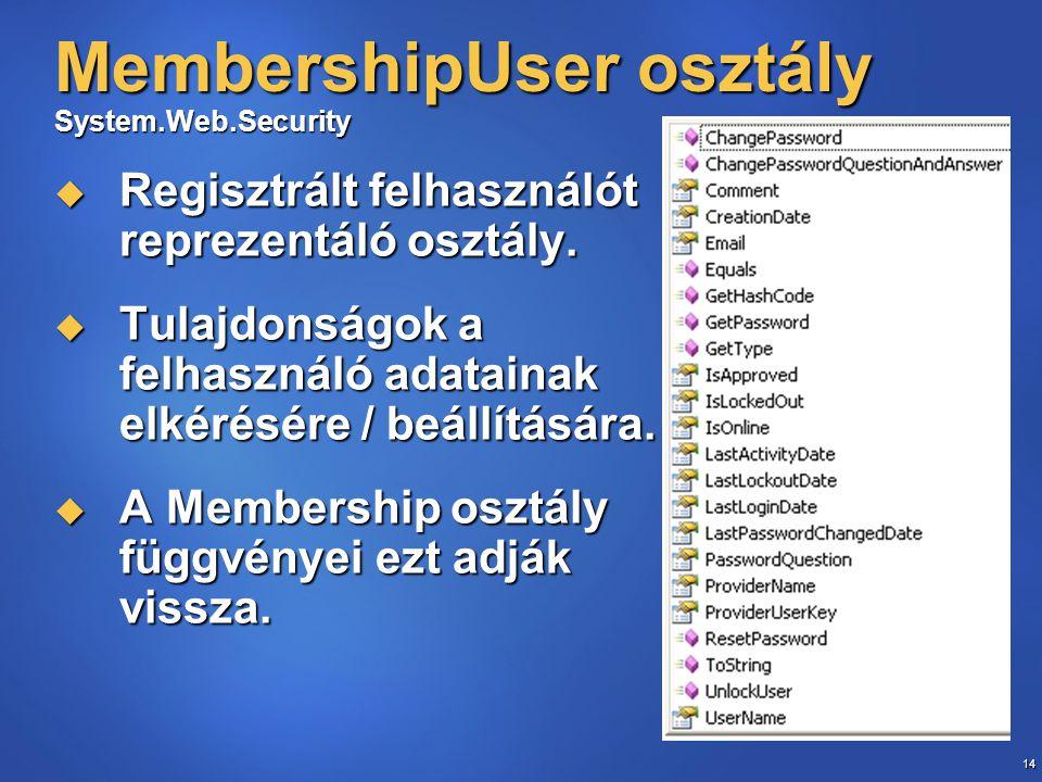 14 MembershipUser osztály System.Web.Security  Regisztrált felhasználót reprezentáló osztály.  Tulajdonságok a felhasználó adatainak elkérésére / be