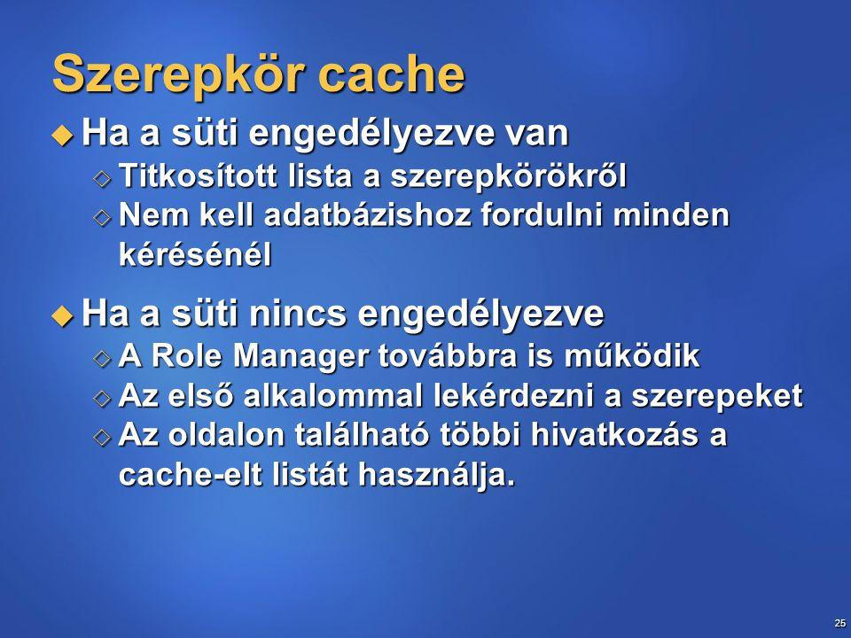25 Szerepkör cache  Ha a süti engedélyezve van  Titkosított lista a szerepkörökről  Nem kell adatbázishoz fordulni minden kérésénél  Ha a süti nincs engedélyezve  A Role Manager továbbra is működik  Az első alkalommal lekérdezni a szerepeket  Az oldalon található többi hivatkozás a cache-elt listát használja.