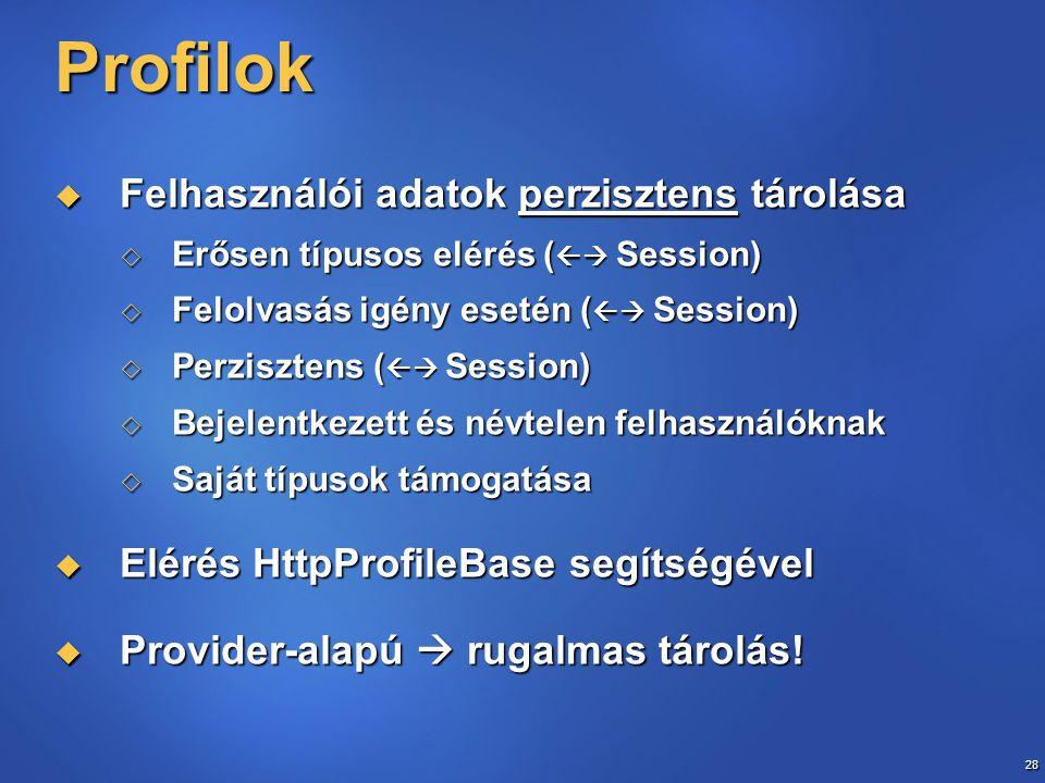 28 Profilok  Felhasználói adatok perzisztens tárolása  Erősen típusos elérés (  Session)  Felolvasás igény esetén (  Session)  Perzisztens ( 