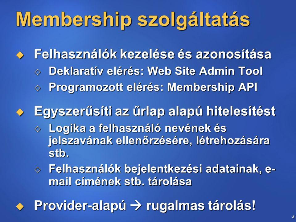 3 Membership szolgáltatás  Felhasználók kezelése és azonosítása  Deklaratív elérés: Web Site Admin Tool  Programozott elérés: Membership API  Egyszerűsíti az űrlap alapú hitelesítést  Logika a felhasználó nevének és jelszavának ellenőrzésére, létrehozására stb.