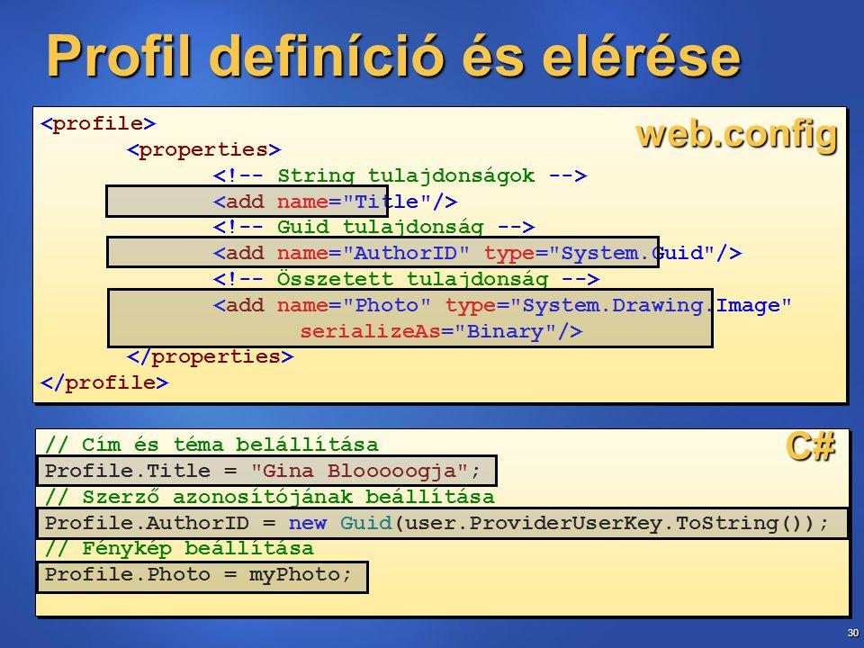 30 // Cím és téma belállítása Profile.Title =