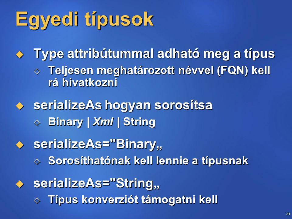 31 Egyedi típusok  Type attribútummal adható meg a típus  Teljesen meghatározott névvel (FQN) kell rá hivatkozni  serializeAs hogyan sorosítsa  Bi
