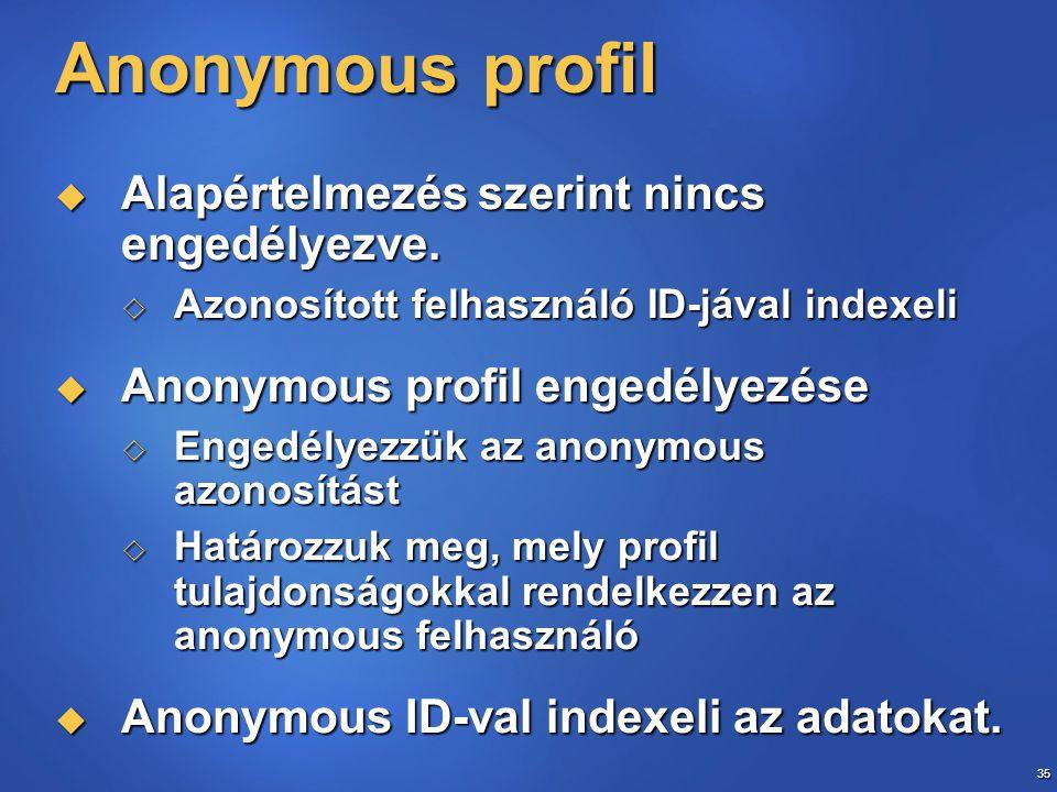 35 Anonymous profil  Alapértelmezés szerint nincs engedélyezve.  Azonosított felhasználó ID-jával indexeli  Anonymous profil engedélyezése  Engedé