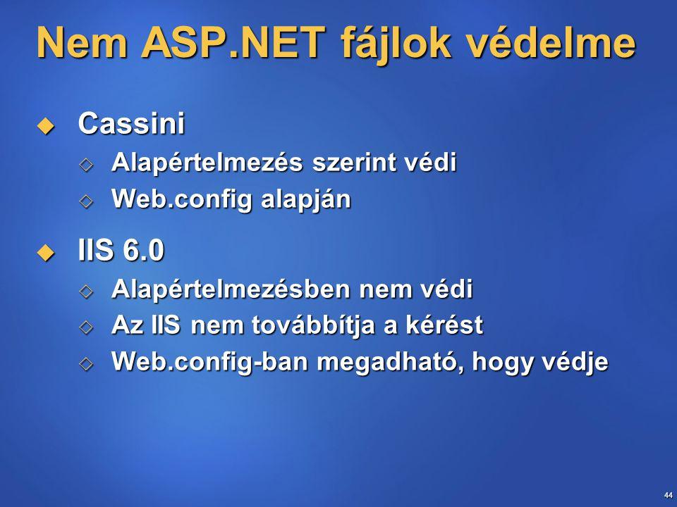 44 Nem ASP.NET fájlok védelme  Cassini  Alapértelmezés szerint védi  Web.config alapján  IIS 6.0  Alapértelmezésben nem védi  Az IIS nem továbbítja a kérést  Web.config-ban megadható, hogy védje