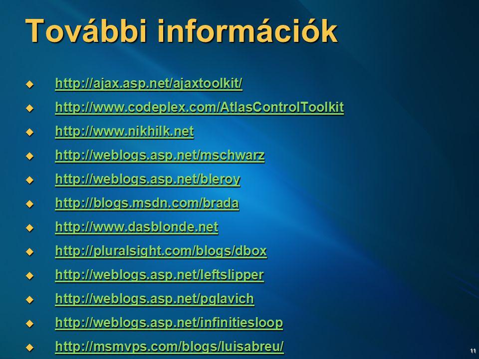 11 További információk  http://ajax.asp.net/ajaxtoolkit/ http://ajax.asp.net/ajaxtoolkit/  http://www.codeplex.com/AtlasControlToolkit http://www.codeplex.com/AtlasControlToolkit  http://www.nikhilk.net http://www.nikhilk.net  http://weblogs.asp.net/mschwarz http://weblogs.asp.net/mschwarz  http://weblogs.asp.net/bleroy http://weblogs.asp.net/bleroy  http://blogs.msdn.com/brada http://blogs.msdn.com/brada  http://www.dasblonde.net http://www.dasblonde.net  http://pluralsight.com/blogs/dbox http://pluralsight.com/blogs/dbox  http://weblogs.asp.net/leftslipper http://weblogs.asp.net/leftslipper  http://weblogs.asp.net/pglavich http://weblogs.asp.net/pglavich  http://weblogs.asp.net/infinitiesloop http://weblogs.asp.net/infinitiesloop  http://msmvps.com/blogs/luisabreu/ http://msmvps.com/blogs/luisabreu/