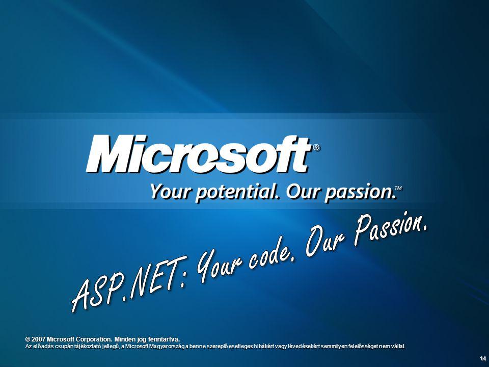 14 © 2007 Microsoft Corporation. Minden jog fenntartva. Az előadás csupán tájékoztató jellegű, a Microsoft Magyarország a benne szereplő esetleges hib