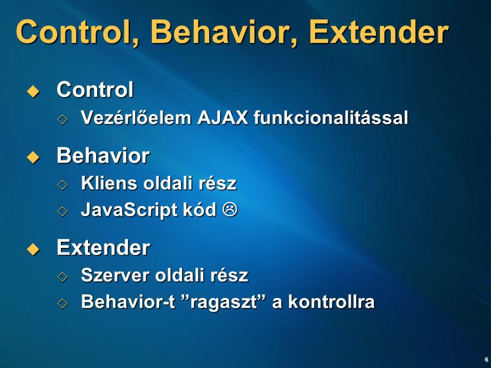 6 Control, Behavior, Extender  Control  Vezérlőelem AJAX funkcionalitással  Behavior  Kliens oldali rész  JavaScript kód   Extender  Szerver oldali rész  Behavior-t ragaszt a kontrollra