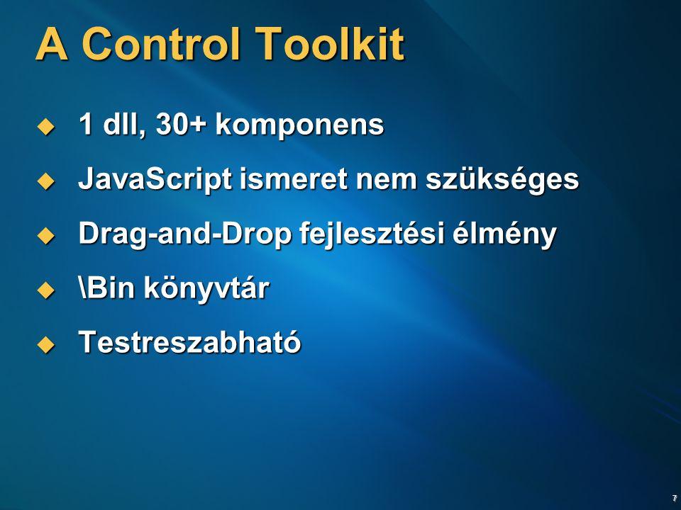 7 A Control Toolkit  1 dll, 30+ komponens  JavaScript ismeret nem szükséges  Drag-and-Drop fejlesztési élmény  \Bin könyvtár  Testreszabható