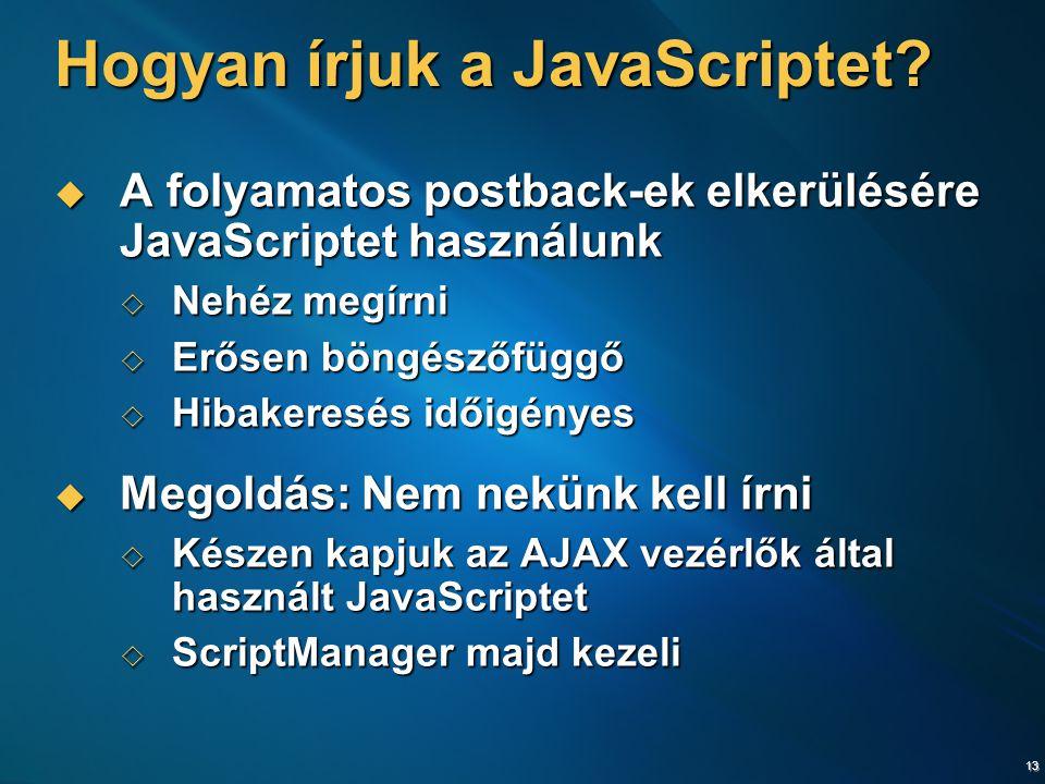 13 Hogyan írjuk a JavaScriptet.