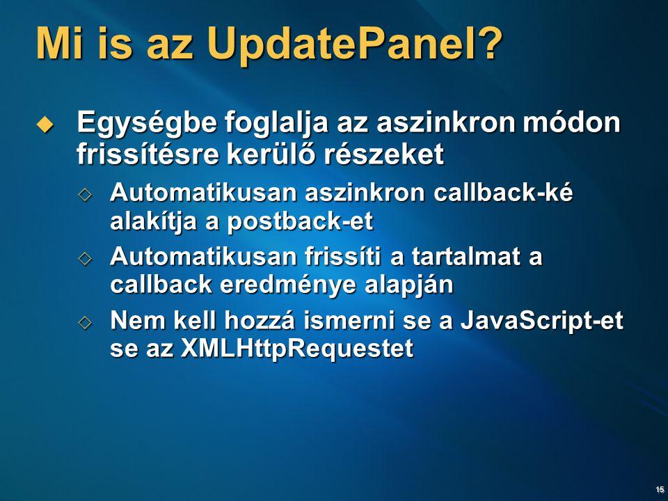15 Mi is az UpdatePanel.