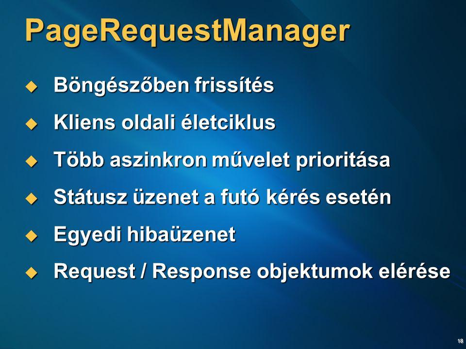 18 PageRequestManager  Böngészőben frissítés  Kliens oldali életciklus  Több aszinkron művelet prioritása  Státusz üzenet a futó kérés esetén  Egyedi hibaüzenet  Request / Response objektumok elérése