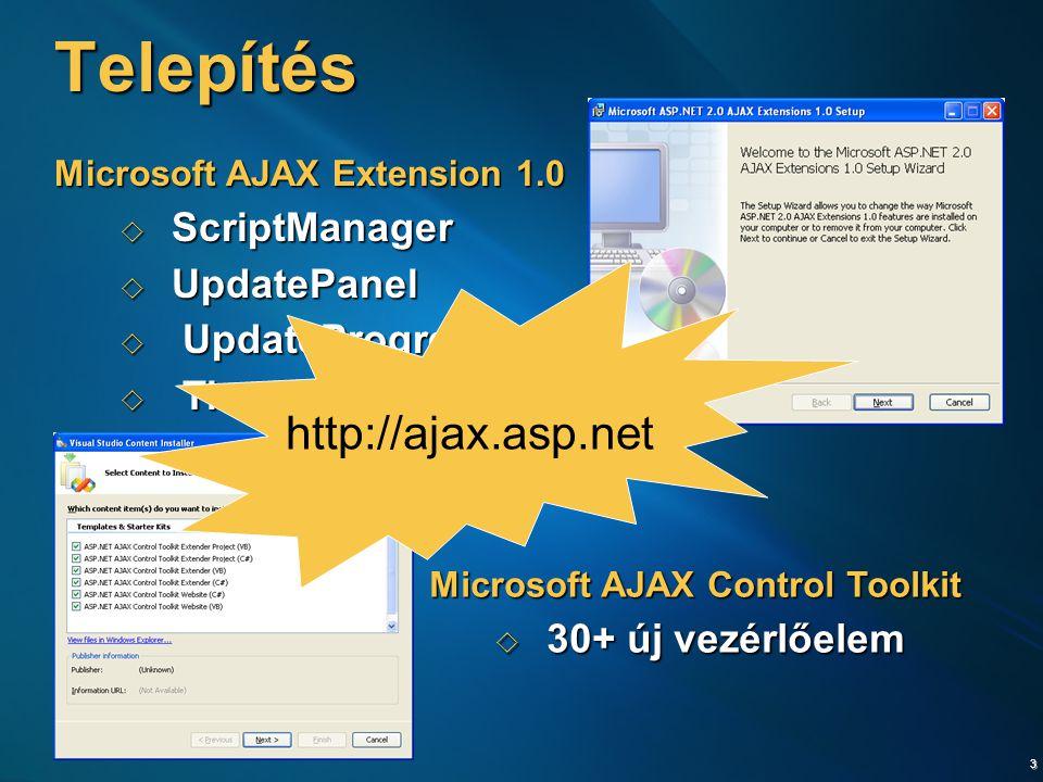 3 Telepítés Microsoft AJAX Extension 1.0  ScriptManager  UpdatePanel  UpdateProgress  Timer Microsoft AJAX Control Toolkit  30+ új vezérlőelem http://ajax.asp.net