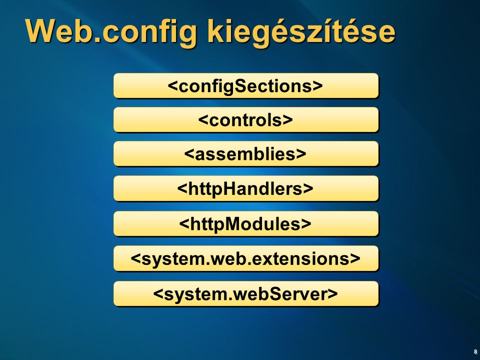 19 Kliens oldali események  Kliens oldalon kiváltott események  initializeRequest  beginRequest  pageLoading  pageLoaded  endRequest Sys.Application.add_load(ApplicationLoadHandler); function ApplicationLoadHandler(sender, args) { Sys.WebForms.PageRequestManager.