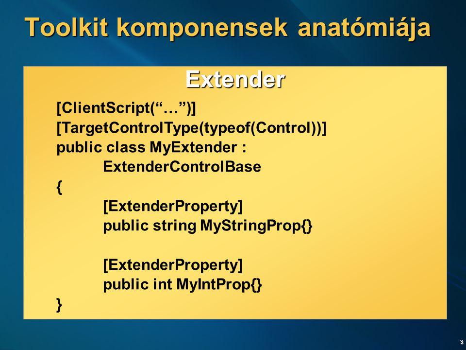 4 Extender [ClientScript( … )] public class MyExtender : ExtenderBase { // … } Behavior MyProject.MyBehavior = function(e) { MyProject.MyBehavior.initializeBase(this, [e]); this._myStringPropValue = null; this._myStringIntValue = 0; } MyProject.MyBehavior.prototype = { initialize function() { … }, get_MyStringProp : function(){}, set_MyStringProp : function(value){}, get_MyIntProp : function(){}, set_MyIntProp : function(value){} } Toolkit komponensek anatómiája