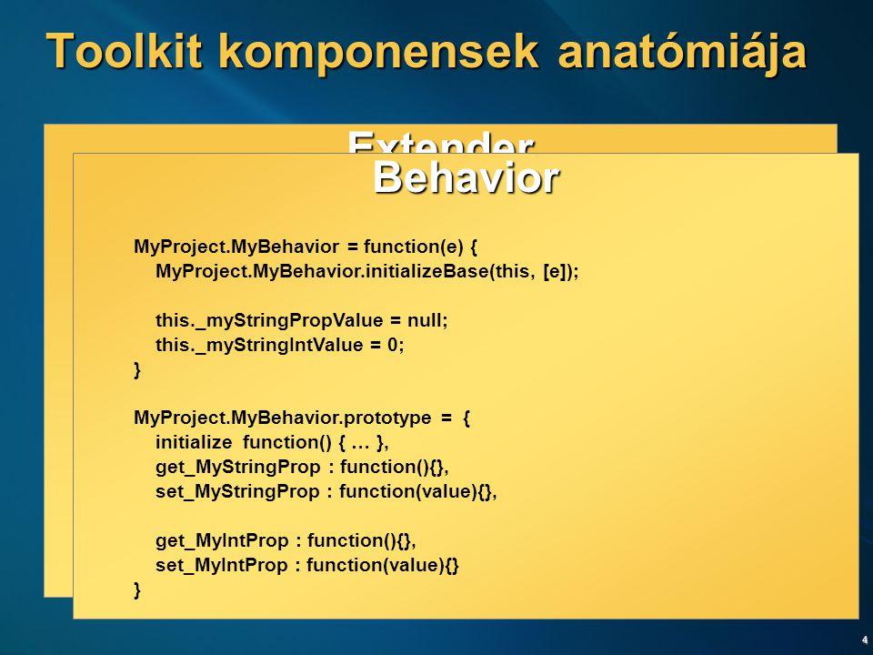 5 Extender [ClientScript( … )] public class MyExtender : ExtenderBase { // … } Behavior AtlasControlToolkit.MyBehavior = function() { AtlasControlToolkit.MyBehavior.initializeBase(this); var _myStringPropValue; this.initialize = function() { … } this.get_MyStringProp = function(){} this.set_MyStringProp = function(value){} } Markup <cc1:MyExtender runat= server TargetControlID= TextBox1 MyStringProp= Hello MyIntProp= 23