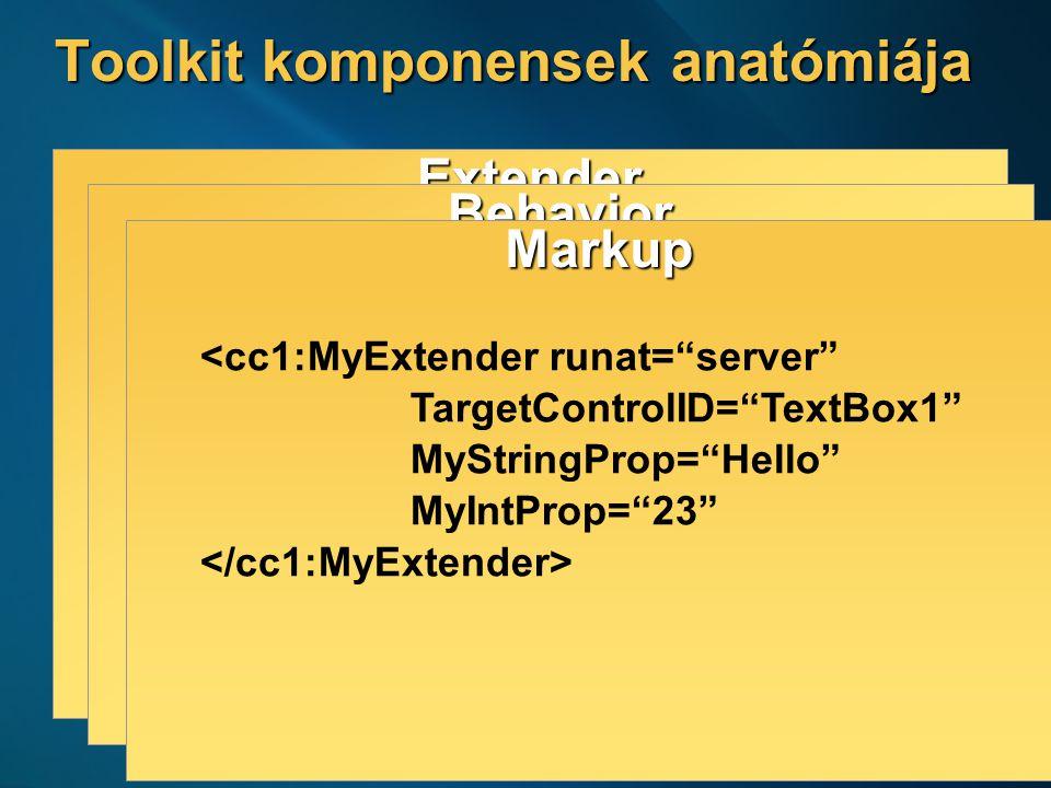 6 Toolkit komponensek anatómiája Extender [ClientScript( … )] public class MyExtender : ExtenderBase { // … } Behavior AtlasControlToolkit.MyBehavior = function() { AtlasControlToolkit.MyBehavior.initializeBase(this); var _myStringPropValue; this.initialize = function() { … } this.get_MyStringProp = function(){} this.set_MyStringProp = function(value){} } Markup <cc1:MyExtender runat= server TargetControlID= TextBox1 MyStringProp= Hello MyIntProp= 23 Code MyExtender ex1 = new MyExtender(); ex1.MyStringProp = Hello ; ex1.MyIntProp = 23; ex1.TargetControlID = TextBox1 ; Page.Add(ex1);