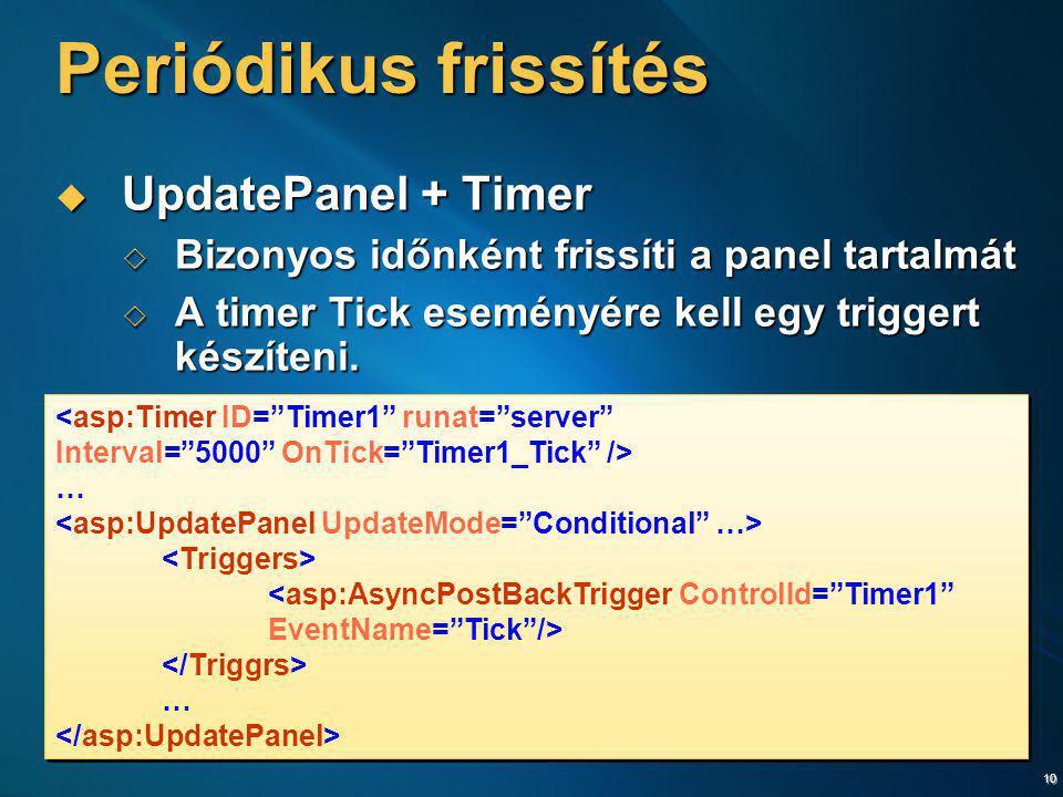 10 Periódikus frissítés  UpdatePanel + Timer  Bizonyos időnként frissíti a panel tartalmát  A timer Tick eseményére kell egy triggert készíteni. <a