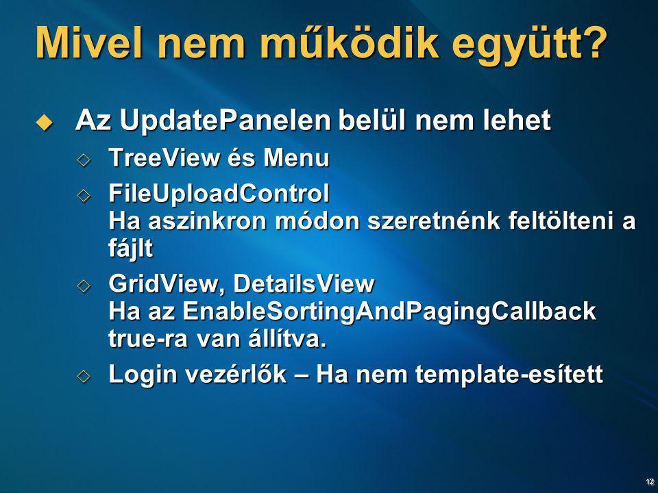 12 Mivel nem működik együtt?  Az UpdatePanelen belül nem lehet  TreeView és Menu  FileUploadControl Ha aszinkron módon szeretnénk feltölteni a fájl