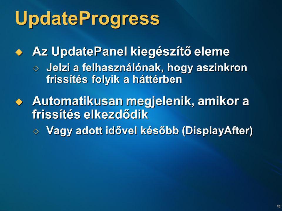 13 UpdateProgress  Az UpdatePanel kiegészítő eleme  Jelzi a felhasználónak, hogy aszinkron frissítés folyik a háttérben  Automatikusan megjelenik,