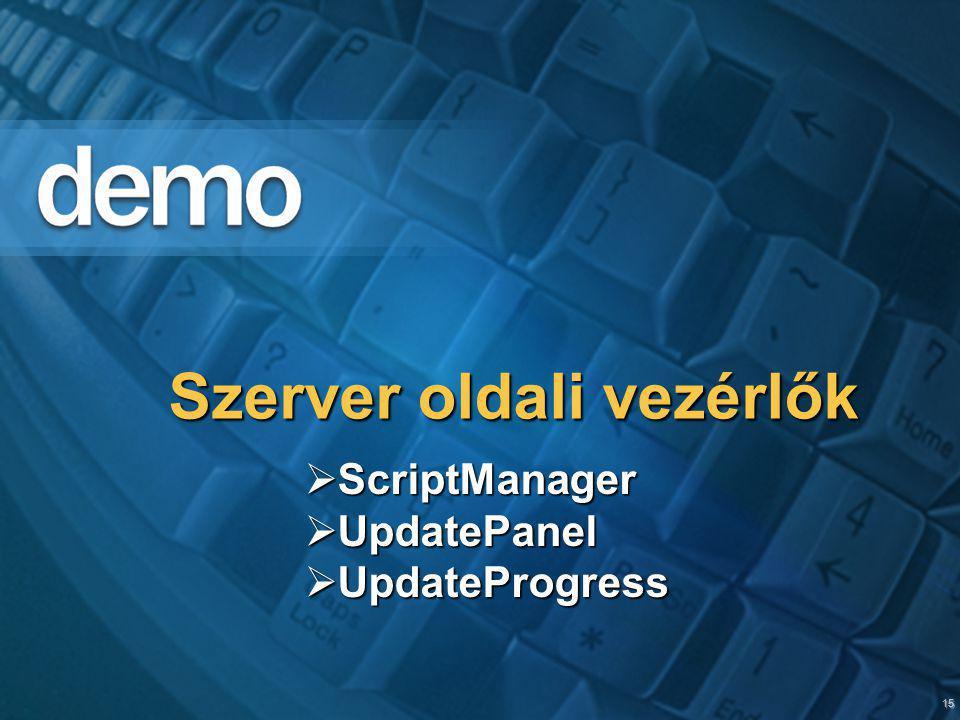 15 Szerver oldali vezérlők  ScriptManager  UpdatePanel  UpdateProgress