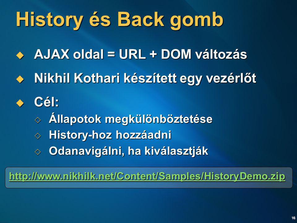 16 History és Back gomb  AJAX oldal = URL + DOM változás  Nikhil Kothari készített egy vezérlőt  Cél:  Állapotok megkülönböztetése  History-hoz h