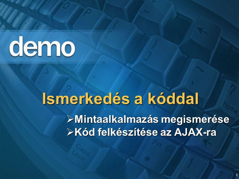2 Ismerkedés a kóddal  Mintaalkalmazás megismerése  Kód felkészítése az AJAX-ra