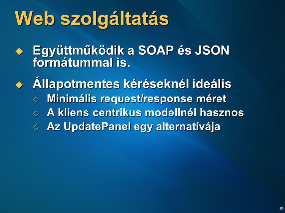 20 Web szolgáltatás  Együttműködik a SOAP és JSON formátummal is.  Állapotmentes kéréseknél ideális  Minimális request/response méret  A kliens ce