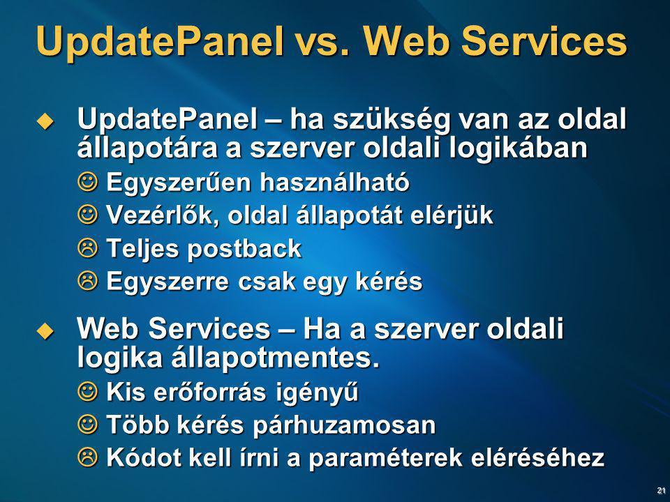 21 UpdatePanel vs. Web Services  UpdatePanel – ha szükség van az oldal állapotára a szerver oldali logikában Egyszerűen használható Egyszerűen haszná