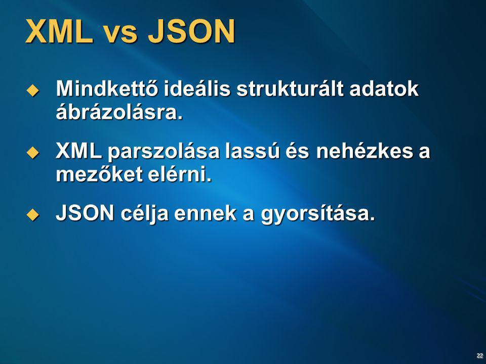 22 XML vs JSON  Mindkettő ideális strukturált adatok ábrázolásra.  XML parszolása lassú és nehézkes a mezőket elérni.  JSON célja ennek a gyorsítás