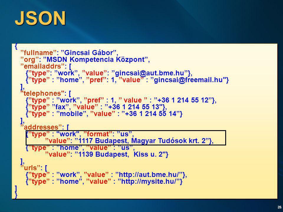 "25 JSON { ""fullname"": ""Gincsai Gábor"", ""org"": ""MSDN Kompetencia Központ"", ""emailaddrs"": [ {""type"": ""work"", ""value"": ""gincsai@aut.bme.hu""}, {""type"" : """