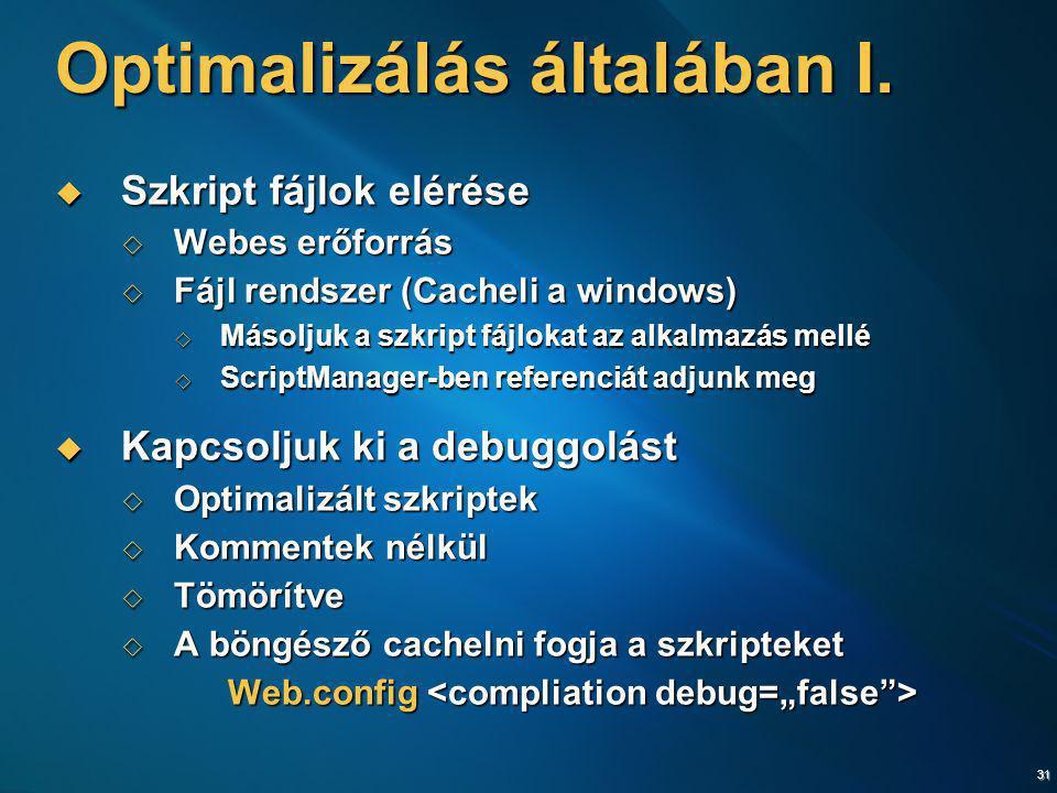 31 Optimalizálás általában I.  Szkript fájlok elérése  Webes erőforrás  Fájl rendszer (Cacheli a windows)  Másoljuk a szkript fájlokat az alkalmaz