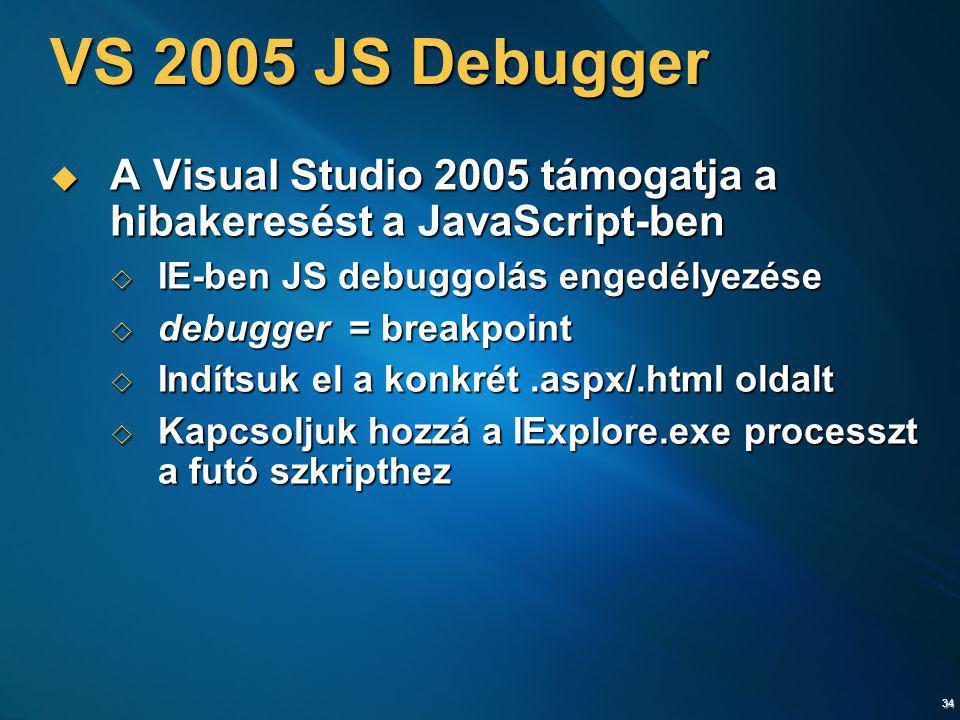 34 VS 2005 JS Debugger  A Visual Studio 2005 támogatja a hibakeresést a JavaScript-ben  IE-ben JS debuggolás engedélyezése  debugger = breakpoint 