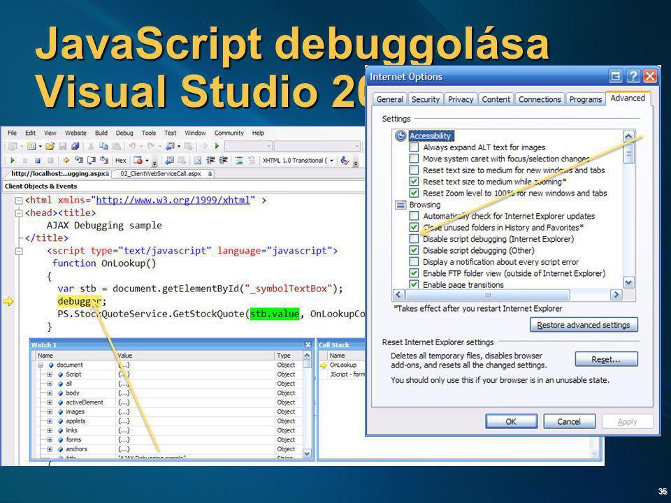35 JavaScript debuggolása Visual Studio 2005-tel