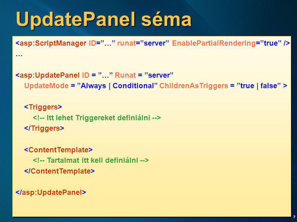 "7 UpdatePanel séma … <asp:UpdatePanel ID = ""…"" Runat = ""server"" UpdateMode = ""Always | Conditional"" ChildrenAsTriggers = ""true | false"" > … <asp:Updat"