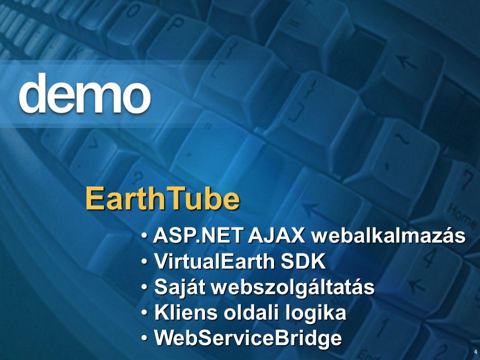 4 EarthTube ASP.NET AJAX webalkalmazás ASP.NET AJAX webalkalmazás VirtualEarth SDK VirtualEarth SDK Saját webszolgáltatás Saját webszolgáltatás Kliens oldali logika Kliens oldali logika WebServiceBridge WebServiceBridge