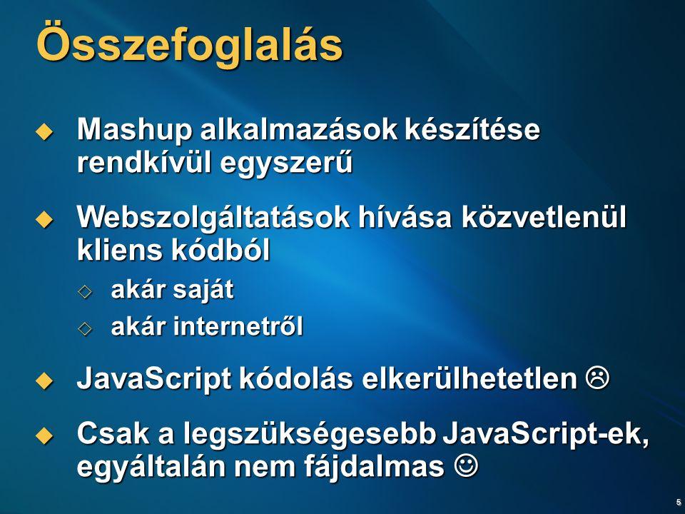 6 További információk  Fejlesztői Portál:  http://www.devportal.hu http://www.devportal.hu  Webfejlesztés témaközpont:  http://www.devportal.hu/Portal/Webdevelopment.aspx http://www.devportal.hu/Portal/Webdevelopment.aspx  ASP.NET 2.0 Induló Készlet:  http://www.devportal.hu/InduloKeszlet http://www.devportal.hu/InduloKeszlet  Hivatalos ASP.NET AJAX honlap  http://ajax.asp.net http://ajax.asp.net  Microsoft MapPoint Developer Center  http://msdn.microsoft.com/mappoint/ http://msdn.microsoft.com/mappoint/  The Virtual Earth Interactive SDK  http://dev.live.com/virtualearth/sdk/ http://dev.live.com/virtualearth/sdk/  YouTube for Developers  http://www.youtube.com/dev http://www.youtube.com/dev