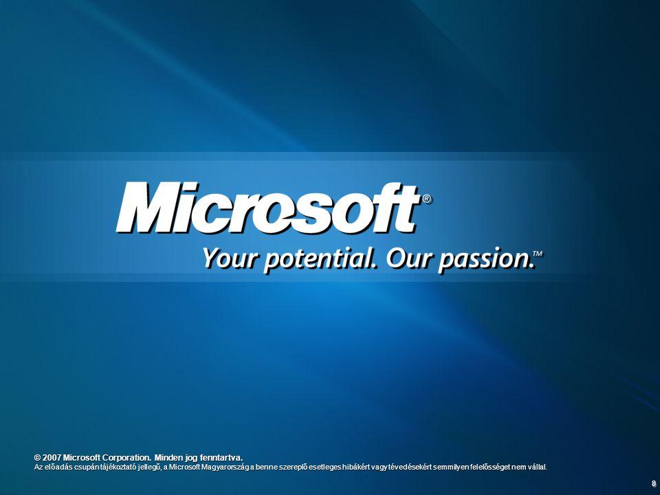 8 © 2007 Microsoft Corporation. Minden jog fenntartva. Az előadás csupán tájékoztató jellegű, a Microsoft Magyarország a benne szereplő esetleges hibá