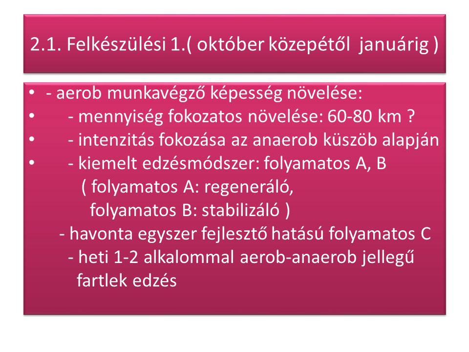 2.1. Felkészülési 1.( október közepétől januárig ) - aerob munkavégző képesség növelése: - mennyiség fokozatos növelése: 60-80 km ? - intenzitás fokoz