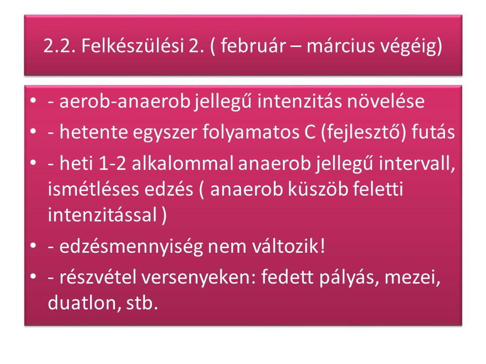 2.2. Felkészülési 2. ( február – március végéig) - aerob-anaerob jellegű intenzitás növelése - hetente egyszer folyamatos C (fejlesztő) futás - heti 1