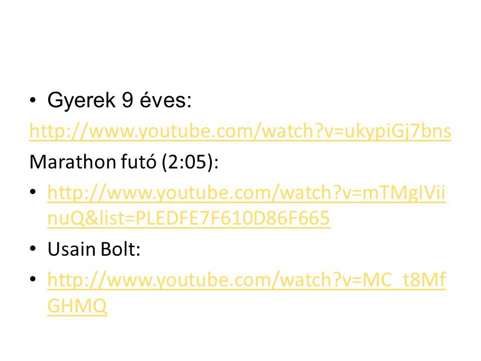 Gyerek 9 éves: http://www.youtube.com/watch?v=ukypiGj7bns Marathon futó (2:05): http://www.youtube.com/watch?v=mTMgIVii nuQ&list=PLEDFE7F610D86F665 ht