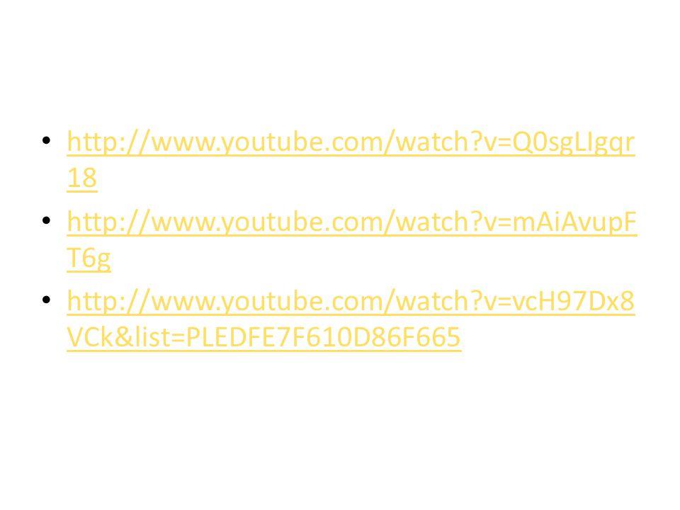 http://www.youtube.com/watch?v=Q0sgLIgqr 18 http://www.youtube.com/watch?v=Q0sgLIgqr 18 http://www.youtube.com/watch?v=mAiAvupF T6g http://www.youtube