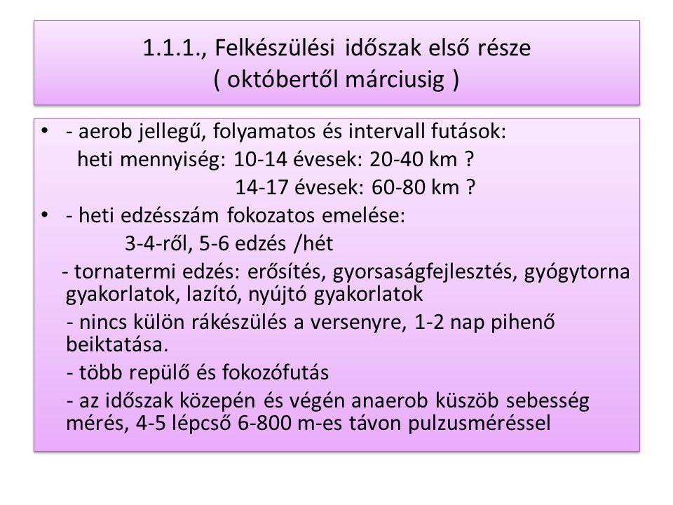 1.1.1., Felkészülési időszak első része ( októbertől márciusig ) - aerob jellegű, folyamatos és intervall futások: heti mennyiség: 10-14 évesek: 20-40