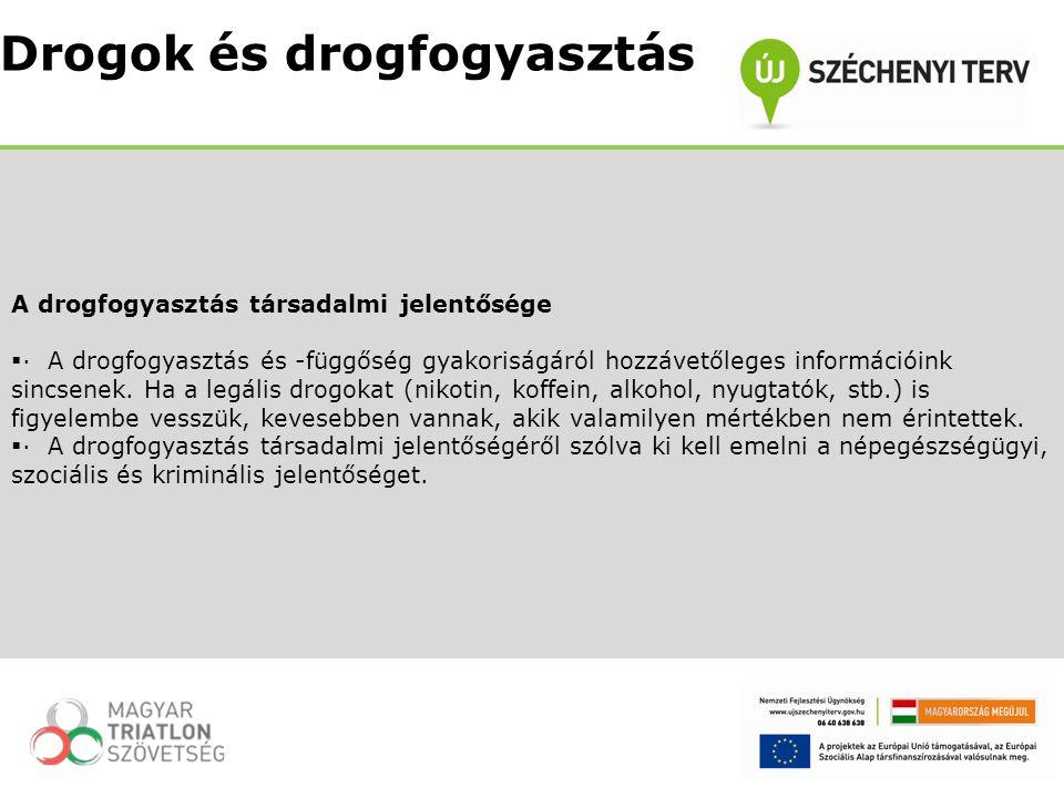 A drogfogyasztás társadalmi jelentősége  · A drogfogyasztás és -függőség gyakoriságáról hozzávetőleges információink sincsenek. Ha a legális drogokat