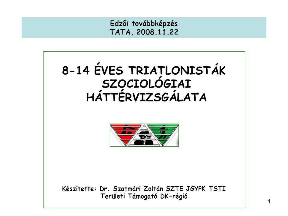 1 Edzői továbbképzés TATA, 2008.11.22 8-14 ÉVES TRIATLONISTÁK SZOCIOLÓGIAI HÁTTÉRVIZSGÁLATA Készítette: Dr.