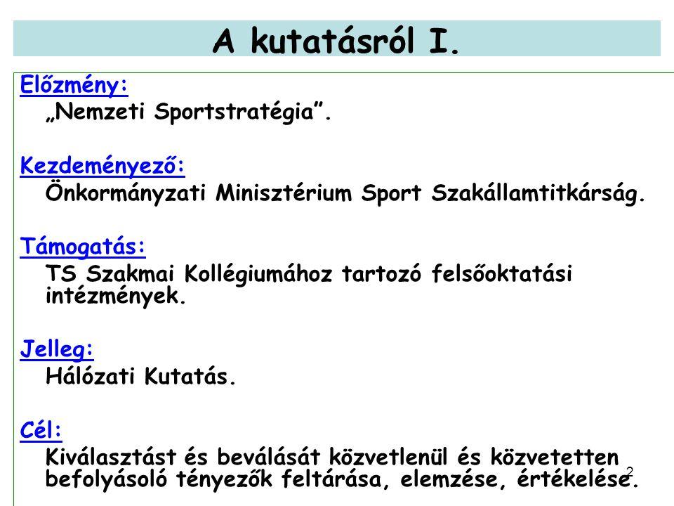 """2 A kutatásról I. Előzmény: """"Nemzeti Sportstratégia ."""