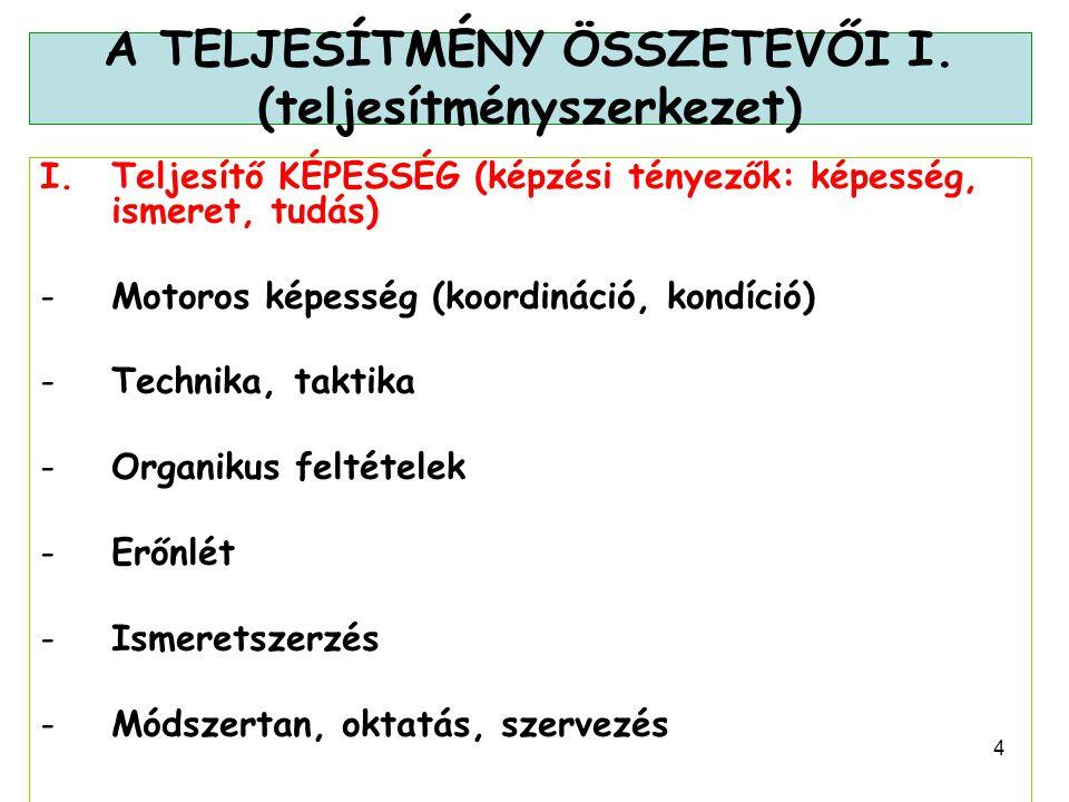 5 A TELJESÍTMÉNY ÖSSZETEVŐI II.(teljesítményszerkezet) II.